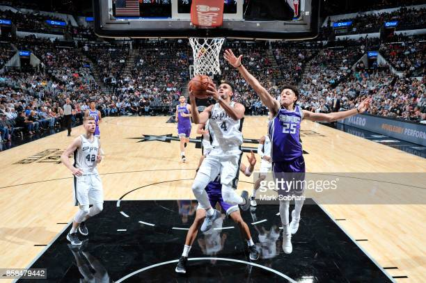 Derrick White of the San Antonio Spurs goes to the basket against the Sacramento Kings on October 6 2017 at the ATT Center in San Antonio Texas NOTE...