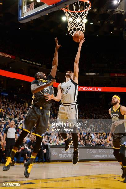 Derrick White of the San Antonio Spurs goes to the basket against the Golden State Warriors on February 10 2018 at ORACLE Arena in Oakland California...