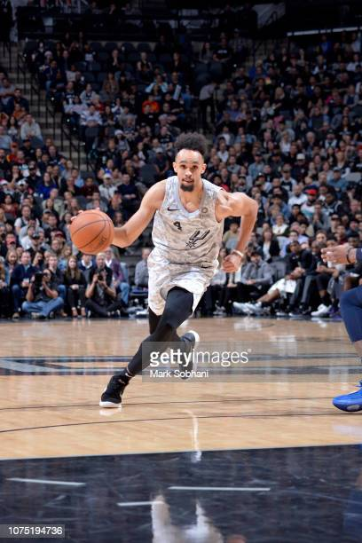 Derrick White of the San Antonio Spurs handles the ball against the Denver Nuggets on December 26 2018 at the ATT Center in San Antonio Texas NOTE TO...