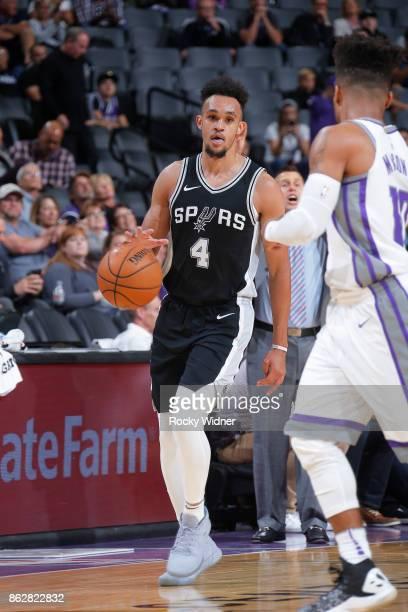 Derrick White of the San Antonio Spurs handles the ball against the Sacramento Kings on October 2 2017 at Golden 1 Center in Sacramento California...