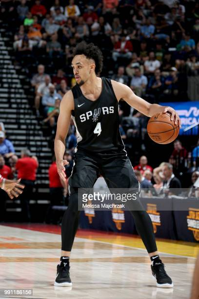 Derrick White of the San Antonio Spurs handles the ball against the Atlanta Hawks during the 2018 Utah Summer League on July 3 2018 at Vivint Smart...