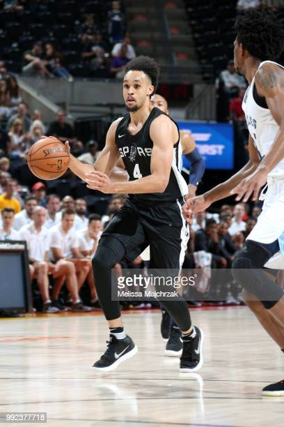 Derrick White of the San Antonio Spurs handles the ball against the Memphis Grizzlies on July 5 2018 at Vivint Smart Home Arena in Salt Lake City...