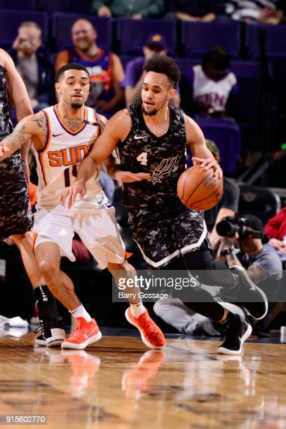 Derrick White of the San Antonio Spurs handles the ball during the game against the Phoenix Suns on February 7 2018 at Talking Stick Resort Arena in...
