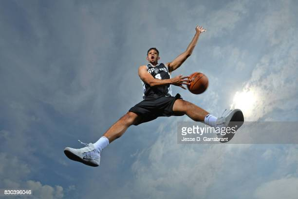 Derrick White of the San Antonio Spurs poses for a portrait during the 2017 NBA rookie photo shoot on August 11 2017 at the Madison Square Garden...