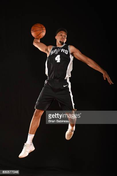 Derrick White of the San Antonio Spurs poses for a portrait during the 2017 NBA Rookie Photo Shoot at MSG training center on August 11 2017 in...