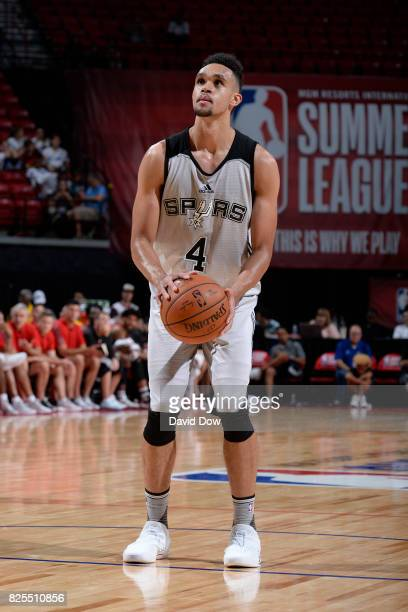 Derrick White of the San Antonio Spurs shoots a foul shot during the Quarterfinals of the 2017 Summer League against the Portland Trail Blazers on...