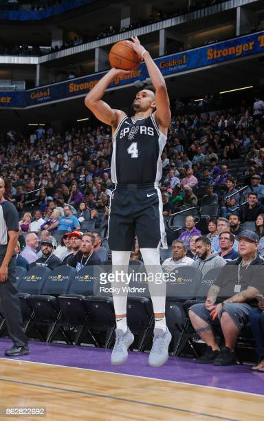 Derrick White of the San Antonio Spurs shoots a three pointer against the Sacramento Kings on October 2 2017 at Golden 1 Center in Sacramento...