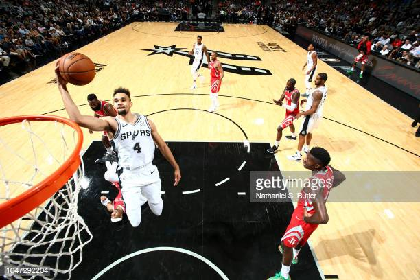Derrick White of the San Antonio Spurs shoots the ball against the Houston Rockets during a preseason game on October 7 2018 at ATT Center in San...
