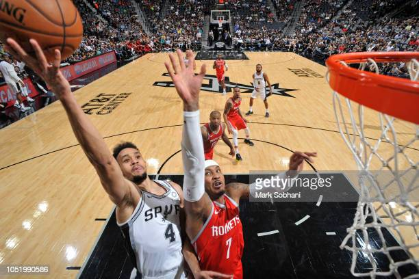 Derrick White of the San Antonio Spurs shoots the ball against the Houston Rockets during a preseason game on October 7 2018 at the ATT Center in San...