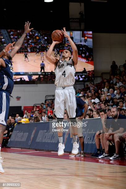 Derrick White of the San Antonio Spurs shoots the ball against the New Orleans Pelicans during the 2017 Las Vegas Summer League game on July 13 2017...
