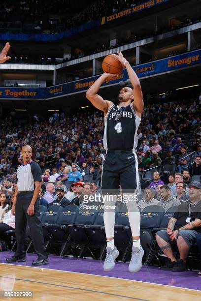 Derrick White of the San Antonio Spurs shoots the ball against the Sacramento Kings during the preseason game on October 2 2017 at Golden 1 Center in...