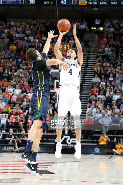 Derrick White of the San Antonio Spurs shoots the ball against the Utah Jazz during the 2018 Summer League at the Vivint Smart Home Arena on July 2...