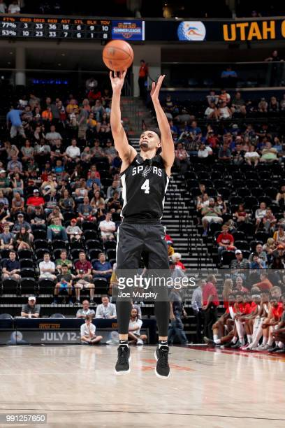 Derrick White of the San Antonio Spurs shoots the ball against the Atlanta Hawks during the 2018 Utah Summer League on July 3 2018 at Vivint Smart...