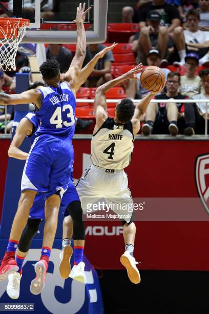 Derrick White of the San Antonio Spurs shoots the ball during the game against the Philadelphia 76ers during the 2017 Utah Summer League on July 6...