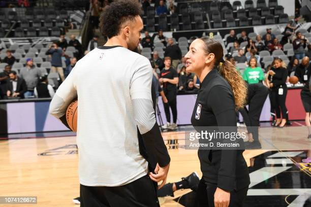 Derrick White of the San Antonio Spurs speaks with Referee offcicial Ashley MoyerGleich before the game against the Los Angeles Lakers on December 7...