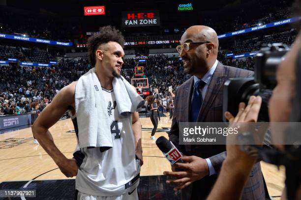 Derrick White of the San Antonio Spurs talks with the media after Game Three of Round One of the 2019 NBA Playoffs against the Denver Nuggets on...
