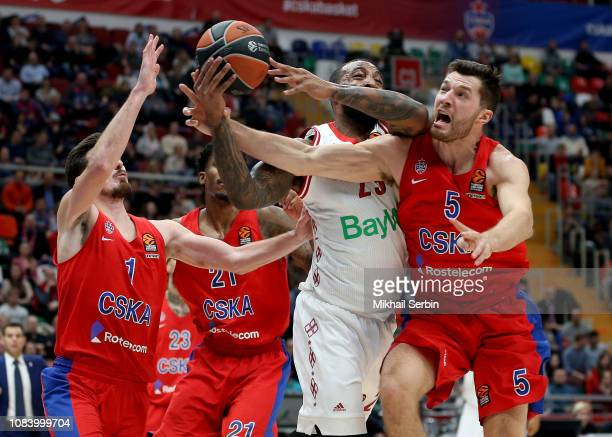 Derrick Williams #23 of FC Bayern Munich competes with Alec Peters #5 of CSKA Moscow in action during the 2018/2019 Turkish Airlines EuroLeague...