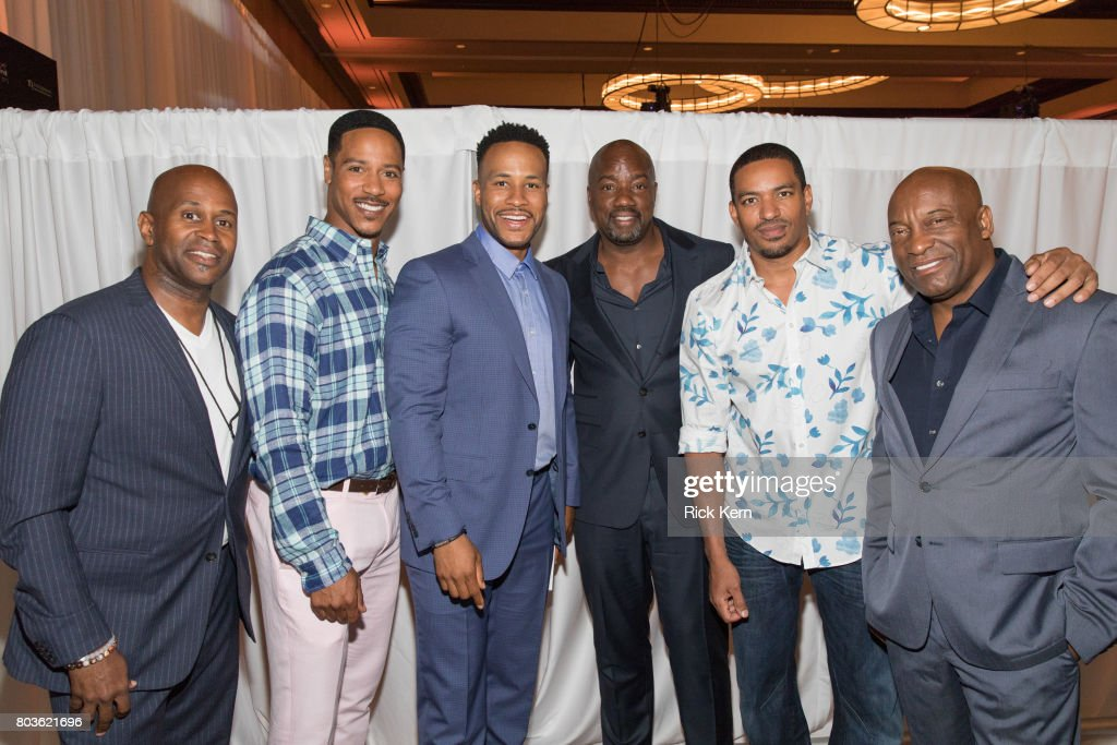 Derrick Williams, Brian White, DeVon Franklin, Malik Yoba, Laz Alonso, and John Singleton pose before the MegaFest Leading Men In Hollywood Panel at the Omni Hotel on June 29, 2017 in Dallas, Texas.