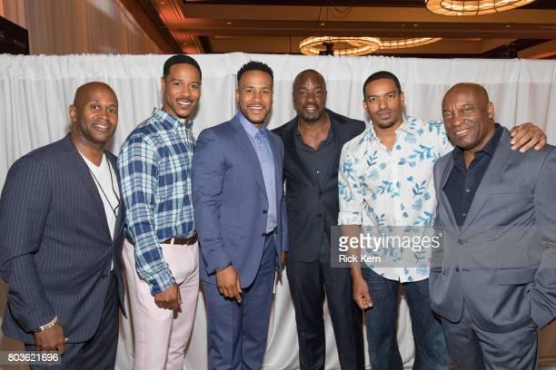 Derrick Williams Brian White DeVon Franklin Malik Yoba Laz Alonso and John Singleton pose before the MegaFest Leading Men In Hollywood Panel at the...