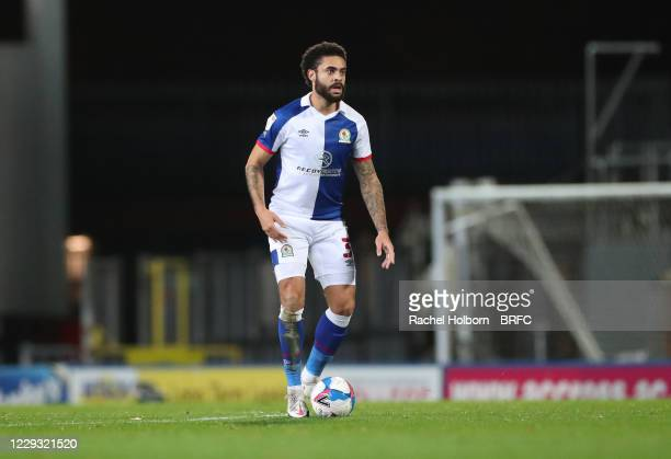 Derrick Williams of Blackburn Rovers during the Sky Bet Championship match between Blackburn Rovers and Reading at Ewood Park on October 27 2020 in...