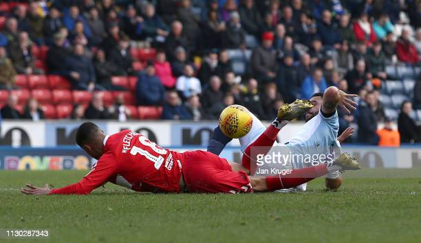 Derrick Williams of Blackburn Rovers is sent off for a foul on Ashley Fletcher of Middlesbrough during the Sky Bet Championship match between...