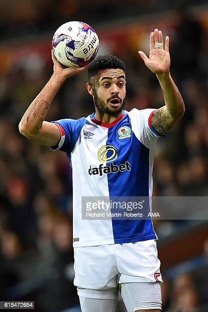Derrick Williams of Blackburn Rovers takes a throw in during the Sky Bet Championship match between Blackburn Rovers and Nottingham Forest at Ewood...