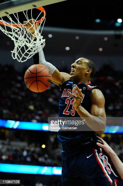 Derrick Williams of the Arizona Wildcats dunks the ball against the Duke Blue Devils during the west regional semifinal of the 2011 NCAA men's...