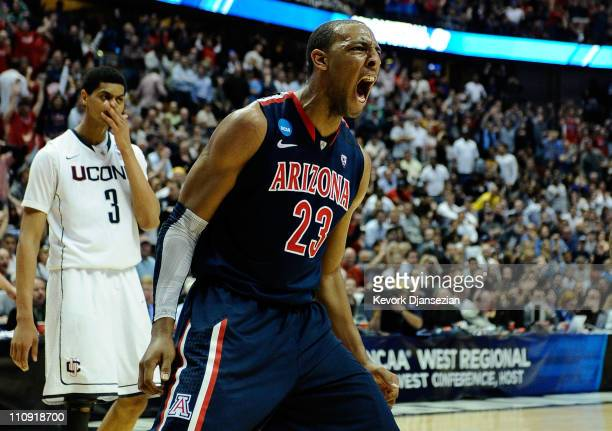 Derrick Williams of the Arizona Wildcats reacts after a dunk against of the Connecticut Huskies during the west regional final of the 2011 NCAA men's...