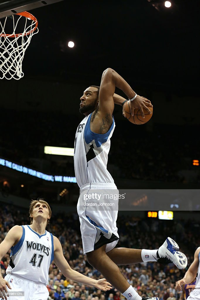 Derrick Williams #7 of the Minnesota Timberwolves dunks the ball against the Los Angeles Lakers on February 1, 2013 at Target Center in Minneapolis, Minnesota.