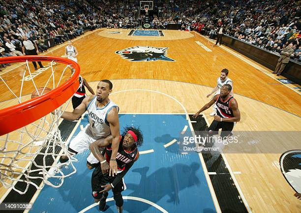 Derrick Williams of the Minnesota Timberwolves goes to the basket against Gerald Wallace of the Portland Trail Blazers during the game on March 7...