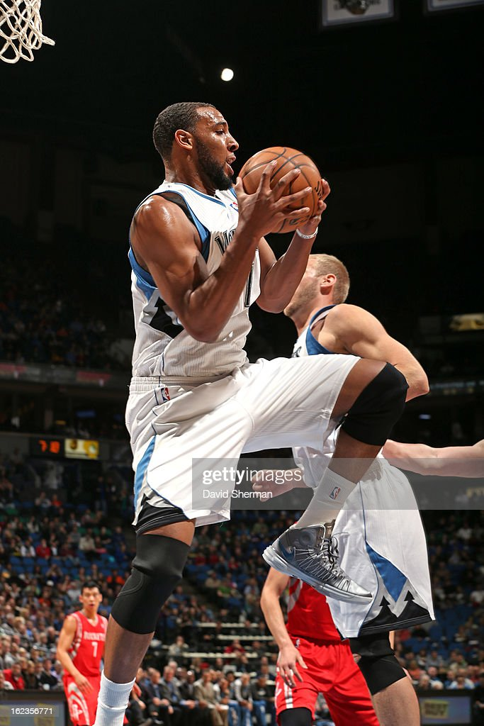 Derrick Williams #7 of the Minnesota Timberwolves grabs a rebound against the Houston Rockets on January 19, 2013 at Target Center in Minneapolis, Minnesota.
