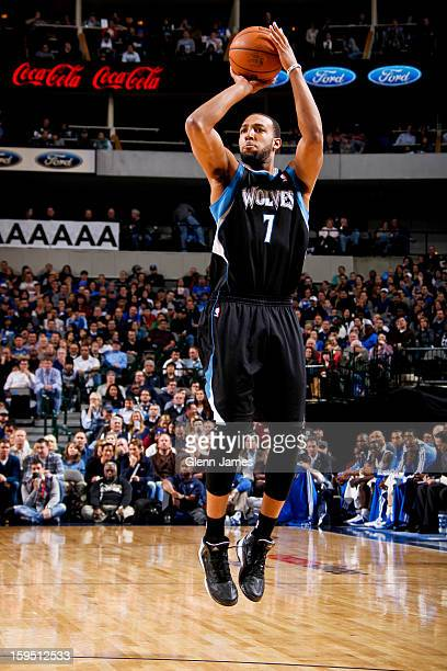 Derrick Williams of the Minnesota Timberwolves shoots a threepointer against the Dallas Mavericks on January 14 2013 at the American Airlines Center...