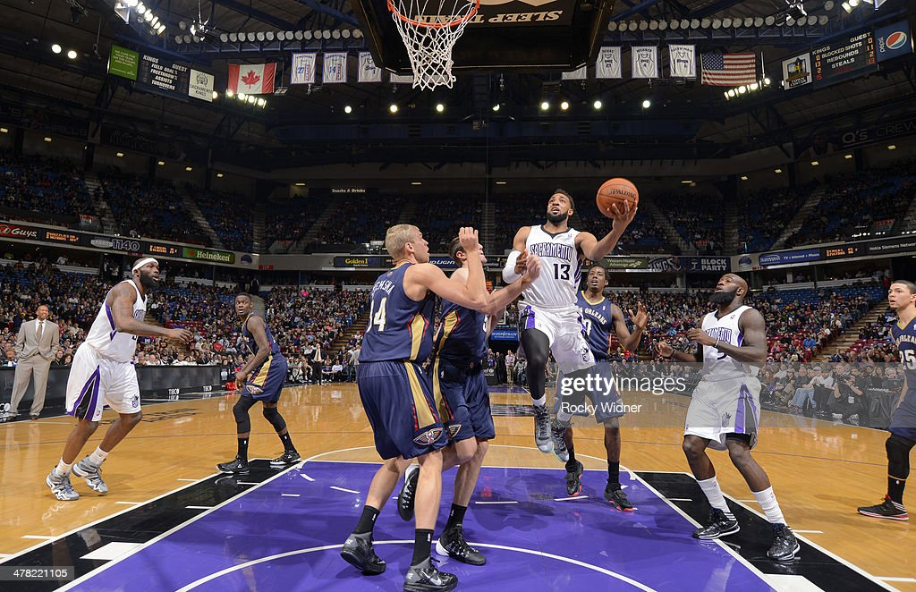 Derrick Williams #13 of the Sacramento Kings shoots a layup against the New Orleans Pelicans on March 3, 2014 at Sleep Train Arena in Sacramento, California.