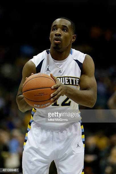 Derrick Wilson of the Marquette Golden Eagles shots a free throw during the game against the Southern Jaguars at BMO Harris Bradley Center on...