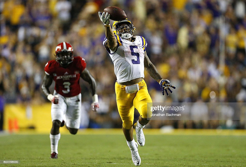 Derrius Guice #5 of the LSU Tigers attempts to catch the ball during the second half of a game against the Jacksonville State Gamecocks at Tiger Stadium on September 10, 2016 in Baton Rouge, Louisiana.