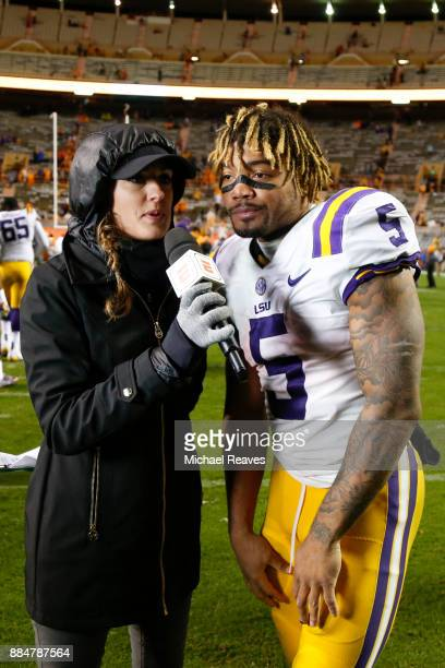 Derrius Guice of the LSU Tigers is interviewed after defeating the Tennessee Volunteers at Neyland Stadium on November 18 2017 in Knoxville Tennessee