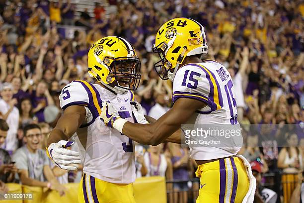 Derrius Guice of the LSU Tigers reacts after scoring a touchdown against the Missouri Tigers at Tiger Stadium on October 1, 2016 in Baton Rouge,...