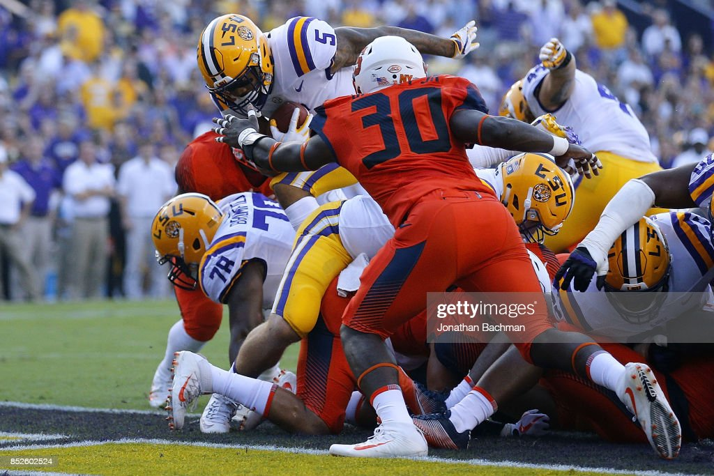 Derrius Guice #5 of the LSU Tigers scores a touchdown during the first half of a game against the Syracuse Orange at Tiger Stadium on September 23, 2017 in Baton Rouge, Louisiana.