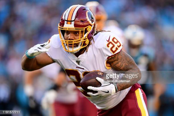Derrius Guice of the Washington Redskins during the second half during their game against the Carolina Panthers at Bank of America Stadium on...