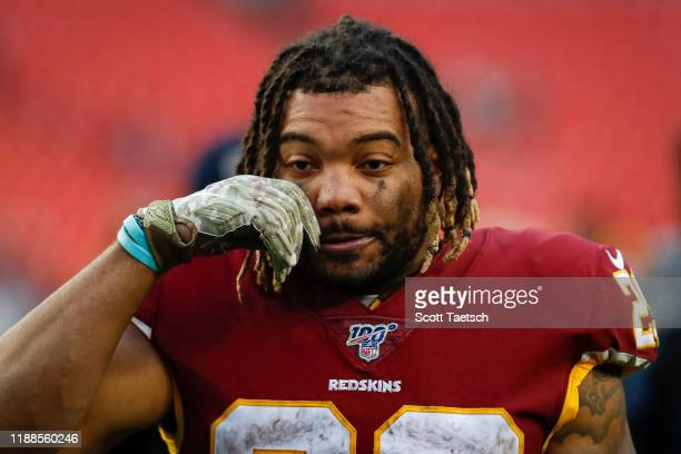 Derrius Guice of the Washington Redskins leaves the field after the game against the New York Jets at FedExField on November 17, 2019 in Landover,...