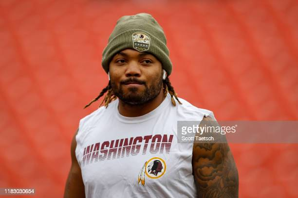 Derrius Guice of the Washington Redskins looks on before the game against the New York Jets at FedExField on November 17, 2019 in Landover, Maryland.