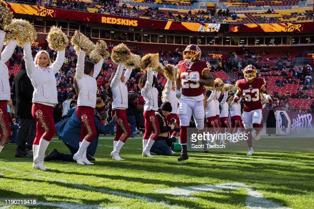 Derrius Guice of the Washington Redskins takes the field before the game against the Detroit Lions at FedExField on November 24 2019 in Landover...