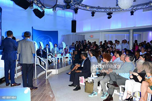 Derrius Quarles Ras Asan Daymond John Wiferdo Fernandez Neal Gottlieb and Sadie Ash attend Tap The Future event at Nikki Beach on July 8 2014 in...