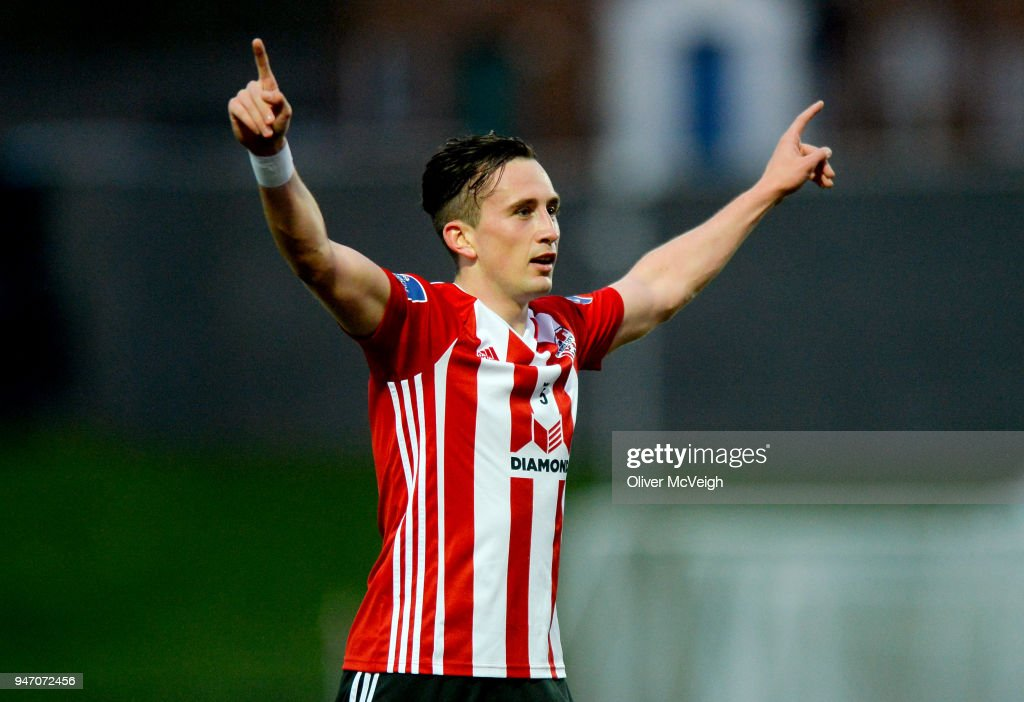 Derry , Ireland - 16 April 2018; Aaron McEneff of Derry City celebrates after scoring his side's first goal during the SSE Airtricity League Premier Division match between Derry City and Bohemians at the Brandywell Stadium in Derry.