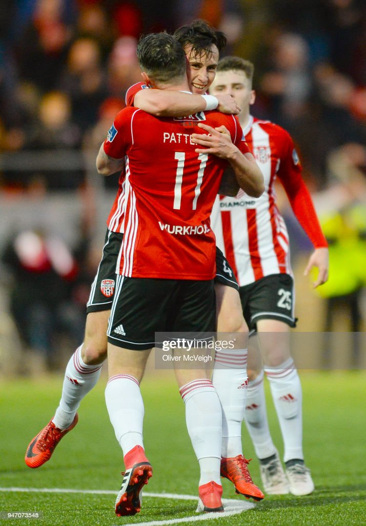 Derry , Ireland - 16 April 2018; Aaron McEneff of Derry City celebrates with team-mate Rory Patterson after scoring his side's first goal during the SSE Airtricity League Premier Division match between Derry City and Bohemians at the Brandywell Stadium in Derry.