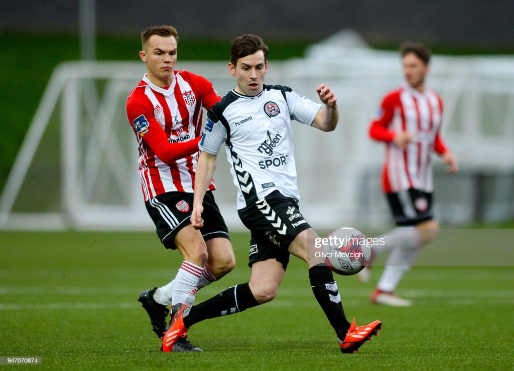 Derry , Ireland - 16 April 2018; Karl Moore of Bohemians in action against Rory Hale of Derry City during the SSE Airtricity League Premier Division match between Derry City and Bohemians at the Brandywell Stadium in Derry.