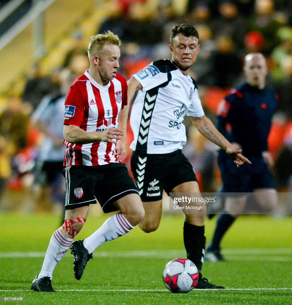 Derry , Ireland - 16 April 2018; Nicky Low of Derry City in action against Philip Gannon of Bohemians during the SSE Airtricity League Premier Division match between Derry City and Bohemians at the Brandywell Stadium in Derry.