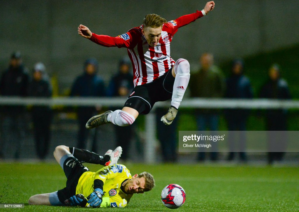 Derry , Ireland - 16 April 2018; Ronan Curtis of Derry City in action against Shane Supple of Bohemians during the SSE Airtricity League Premier Division match between Derry City and Bohemians at the Brandywell Stadium in Derry.