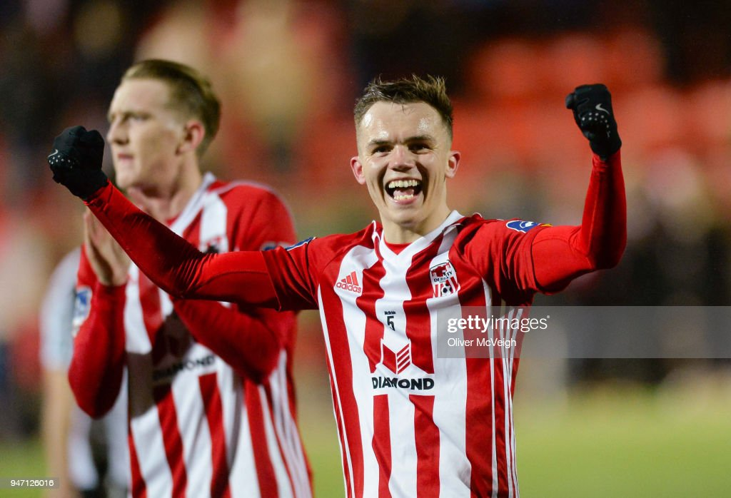 Derry , Ireland - 16 April 2018; Rory Hale of Derry City celebrates after the SSE Airtricity League Premier Division match between Derry City and Bohemians at the Brandywell Stadium in Derry.
