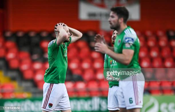 Derry , Ireland - 21 August 2020; Kevin O'Connor of Cork City, left, reacts after shooting narrowly wide from a freekick during the SSE Airtricity...